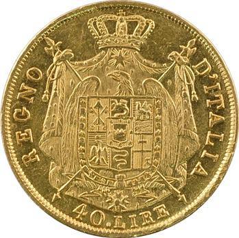Italie, Napoléon Ier, 40 lire tranche en creux, 1814 Milan variété de date