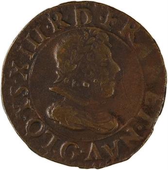 Louis XIII, denier tournois 1er type, 1614 Paris