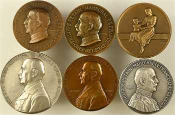 IIe Guerre Mondiale, Maréchal Pétain, lot de 6 médailles par Cogné, Guiraud, Lavrillier et Turin