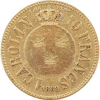 Suède (royaume de), Charles XV, carolin ou 10 francs, 1869 Stockholm