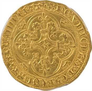 Charles VI, écu d'or à la couronne 4e émission, Sainte-Ménehould X/+, PCGS MS61