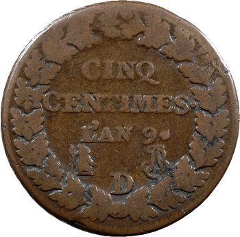 Consulat, cinq centimes Dupré, An 9 Lyon