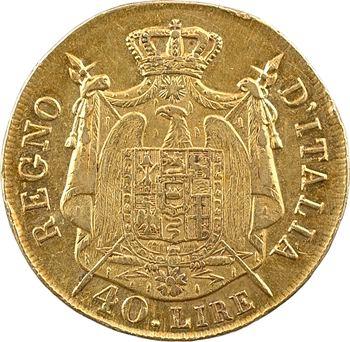 Italie, Napoléon Ier, 40 lire tranche en relief, 1808 Milan, variété sans N