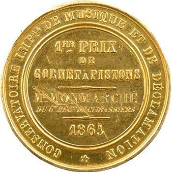 Second Empire, médaille en or, 1er prix de cornet à pistons (cuirassiers), 1865 Paris