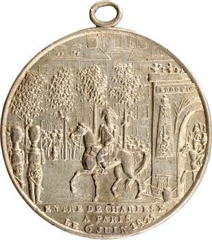 Charles X, sacre du Roi et entrée à Paris, médaille populaire en étain, 1825
