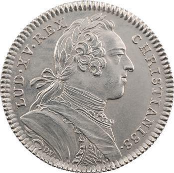 RETIRÉ – WITHDRAWN. Amérique, Canada, Louis XV, jeton aux lis et Indien, par Duvivier, frappe médaille, 1751 Paris