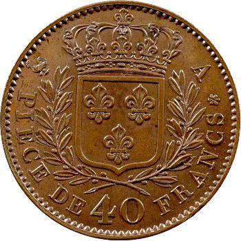 Louis XVIII, essai de 40 francs en bronze par Gatteaux, 1815 Paris