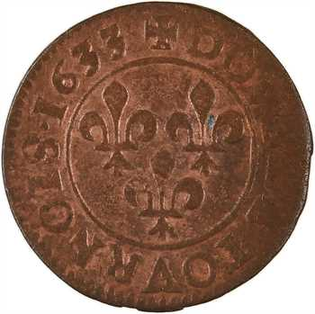 Louis XIII, double tournois 8e type, 1633 Lyon