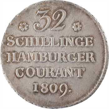 Allemagne, Hambourg (ville de), 32 shillings 1er type, 1809 Hambourg