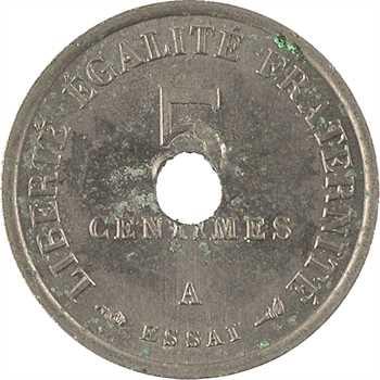 IIIe République, essai de 5 centimes Merley perforé, 1905 Paris