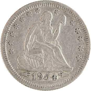 États-Unis, quarter dollar Liberty seated (quart de dollar), 1854 Philadelphie