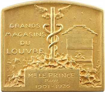 Vernier (S. E.) : Les Grands Magasins du Louvre, plaquette en or, 1926 Paris