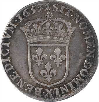 Louis XIV, quart d'écu à la mèche longue, 1653 Amiens