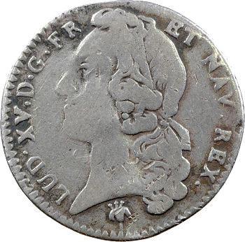 Louis XV, cinquième d'écu au bandeau, 1759 Reims