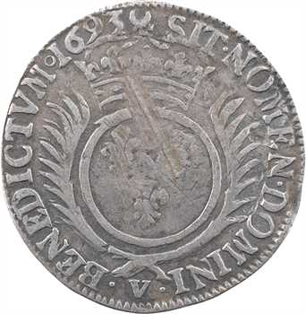 Louis XIV, quart d'écu aux palmes, 1693 Troyes