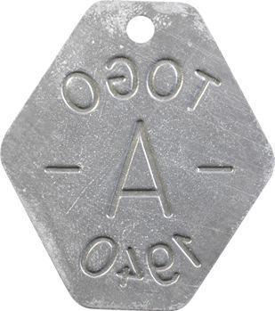 Togo, plaque de taxe, A, 1940