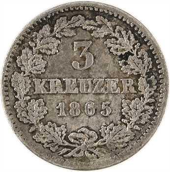 Allemagne, Bavière (royaume de), Louis II, 3 Kreuzer, 1865