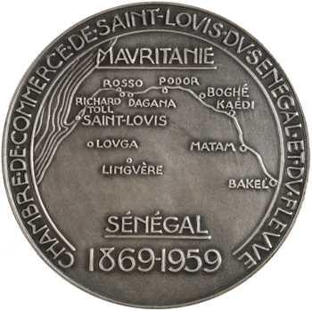 Sénégal, tricentenaire de Saint-Louis du Sénégal, par Jean Vernon, en argent, 1959 Paris