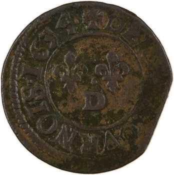 Louis XIII, denier tournois 5e type, 1634 Lyon