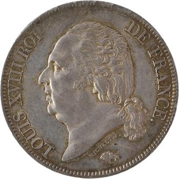 Louis XVIII, 5 francs tête nue transformée en médaille de mariage, 1817