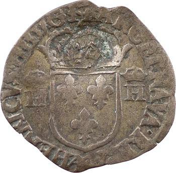 Louis XIII, quinzain contremarqué d'un lis sur douzain aux 2 H couronnées 1er type, 1594 Melun [1640]