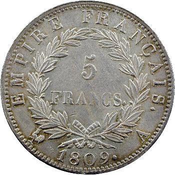 Premier Empire, 5 francs Empire, 1809 Paris