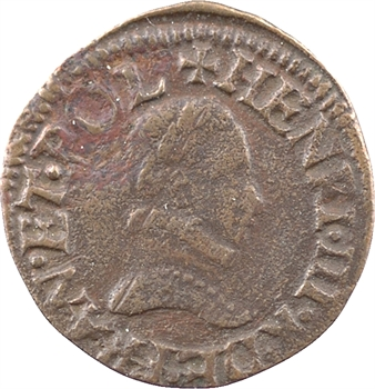 Henri III, denier tournois, s.d. (1578-1580) Troyes