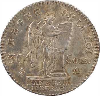 Constitution, 30 sols FRANÇOIS, An 3, 1er semestre, 1791 Paris