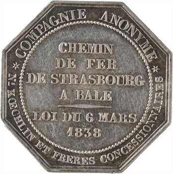 Suisse, ouverture de la liaison de chemin de fer de Strasbourg à Bâle, par Barre, 1838 Paris