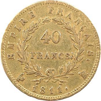 Premier Empire, 40 francs Empire, 1811 Paris, lettre sur le coq
