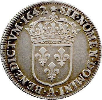 Louis XIII, quart d'écu d'argent, 3e type (2e poinçon), 1642 Paris