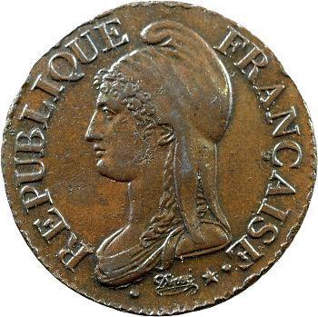 Directoire, cinq centimes Dupré, An 7/5 Paris