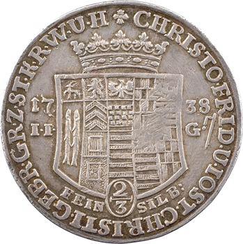 Allemagne, Stolberg-Wernigerode, Christophe Frédéric, 2/3 de thaler, 1738