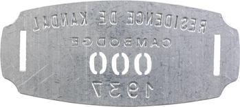 Indochine, Cambodge, Kandal (Résidence de), plaque de taxe n° 000, 1937