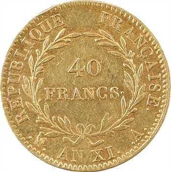 Consulat, 40 francs, An XI Paris