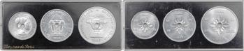 Laos (Royaume du), coffret de trois essais et 3 frappes courantes de 10, 20 et 50 cents, 1952 Paris