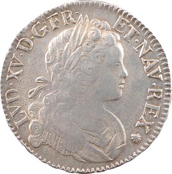 Louis XV, écu de Navarre, 1718 Troyes