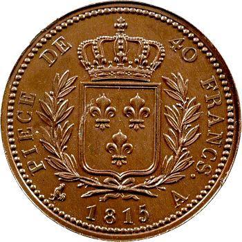 Louis XVIII, essai de 40 francs en bronze par Andrieu, 1815 Paris