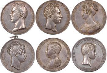 Restauration, série de 6 médailles avec attribution au Général le Chevalier François de Gombault, 1828 Paris