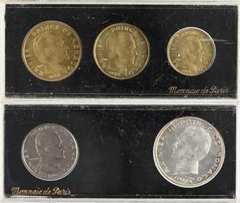 Monaco, Rainier III, cinq essais en deux coffrets 10, 20 et 50 centimes 1962, 1 et 5 francs 1960, Paris