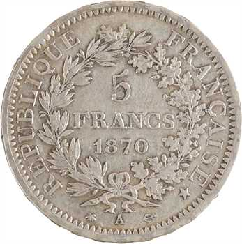 Gvt de Défense nationale, 5 francs Hercule, 1870 Paris