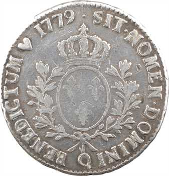 Louis XVI, écu aux branches d'olivier, 1779 Perpignan
