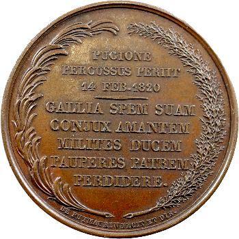 Médaille bronze, Assassinat du duc de Berry, 14 février 1820
