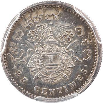 Cambodge, Norodom Ier, 25 centimes, variété signature O.W., 1860 Bruxelles, PCGS MS64