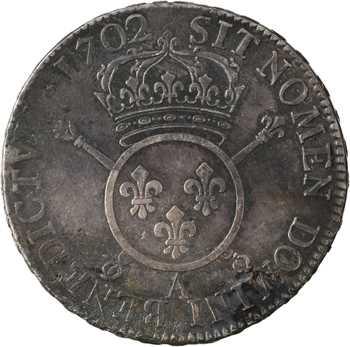 Louis XIV, écu aux insignes, 1702 Paris (flan neuf)