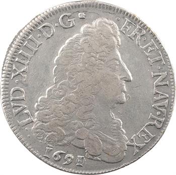 Louis XIV, écu aux huit L, 1er type, 1691/0 Troyes