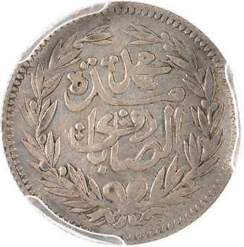 Tunisie (Protectorat français), Mohammed el-Sadik Bey, demi-piastre ou 8 kharoubs, AH 1299 (1882) Paris, PCGS AU55