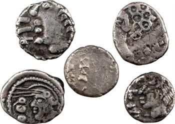 Séquanes/Leuques/Lingons, lot composé de 5 deniers (2 x SOLIMA, SEQVANOIOTOS, D.DOCI / SAM F et TOGIRIX)