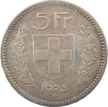 Suisse, Confédération helvétique, 5 francs, 1923 Berne