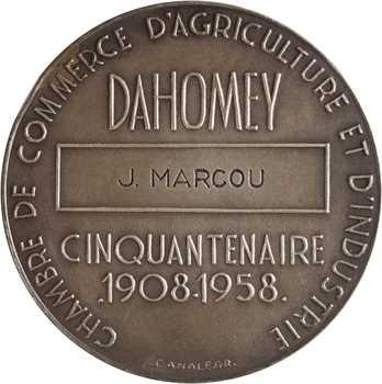 Dahomey, Cotonou, cinquantenaire de la Chambre de commerce et pose de la première pierre du port, en argent, 1959 Paris